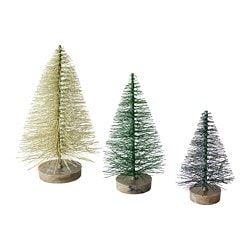 Deko für die Kommode mit Schnee und Weihnachtsmännern FEJKA Kunstpflanze 3er-Set, Weihnachtsbaum #weihnachtsdekoration #weihnachtsdeko #weihnachtenikea
