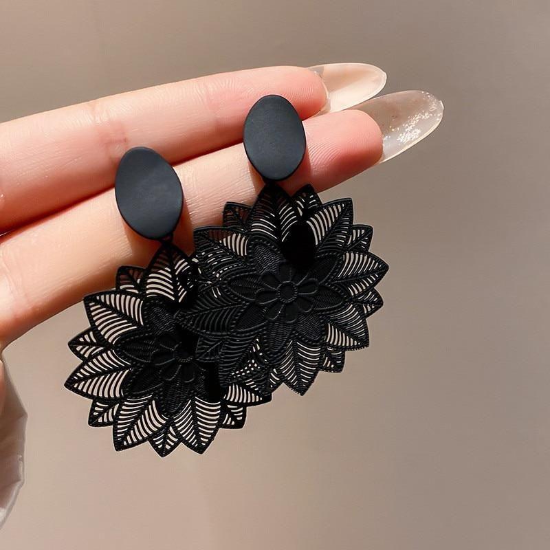 Vintage Black Forest Big Hollow Flower Earrings
