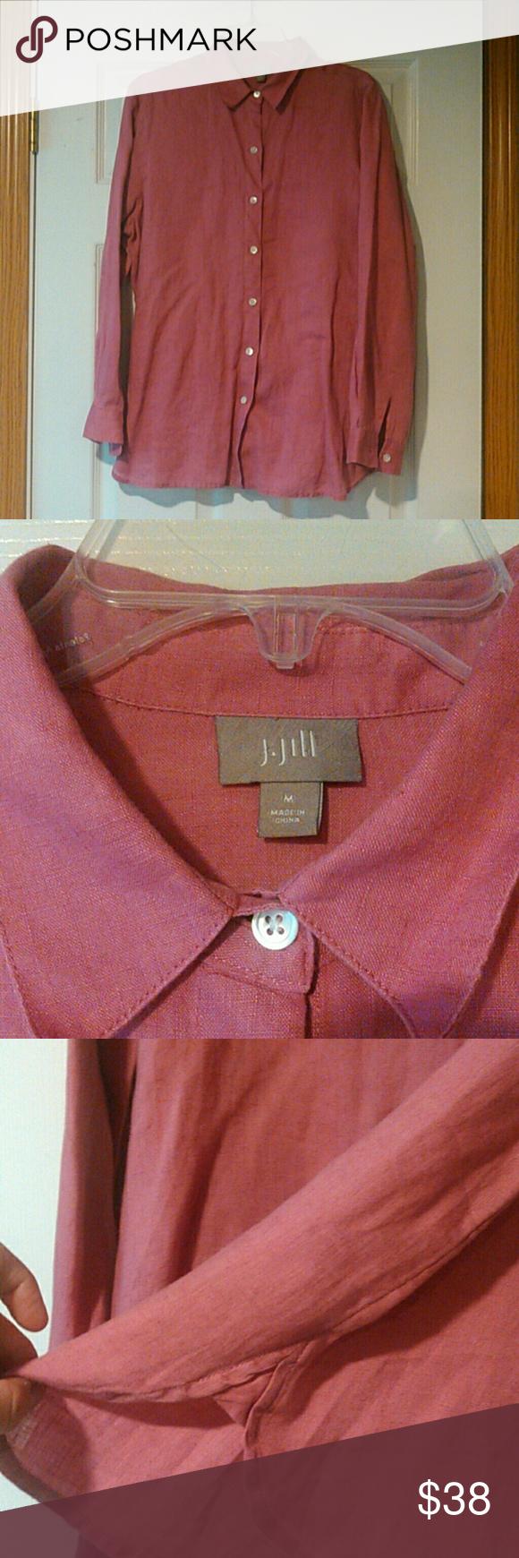 d9322f24 J. Jill Essential Linen Shirt Long sleeve. Front button closure. Shirttail  hemline. Machine washable. 100% woven linen. Excellent condition.