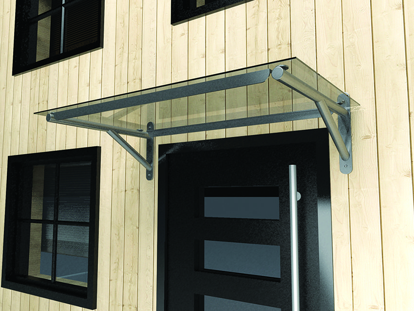 Flat polycarbonate door canopy with gallows brackets. Made to fit any doorway & Flat polycarbonate door canopy with gallows brackets. Made to fit ...