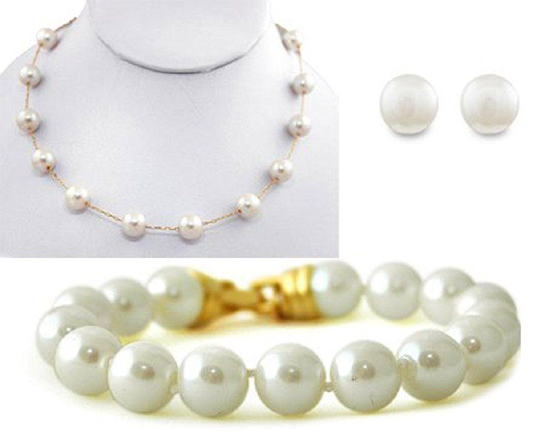 Set creamchampagne necklacebraceletearring mm set with gold