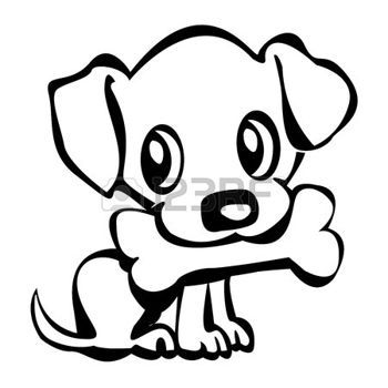 Puppy Cartoon Outline Of A Cute Little Puppy Holding His