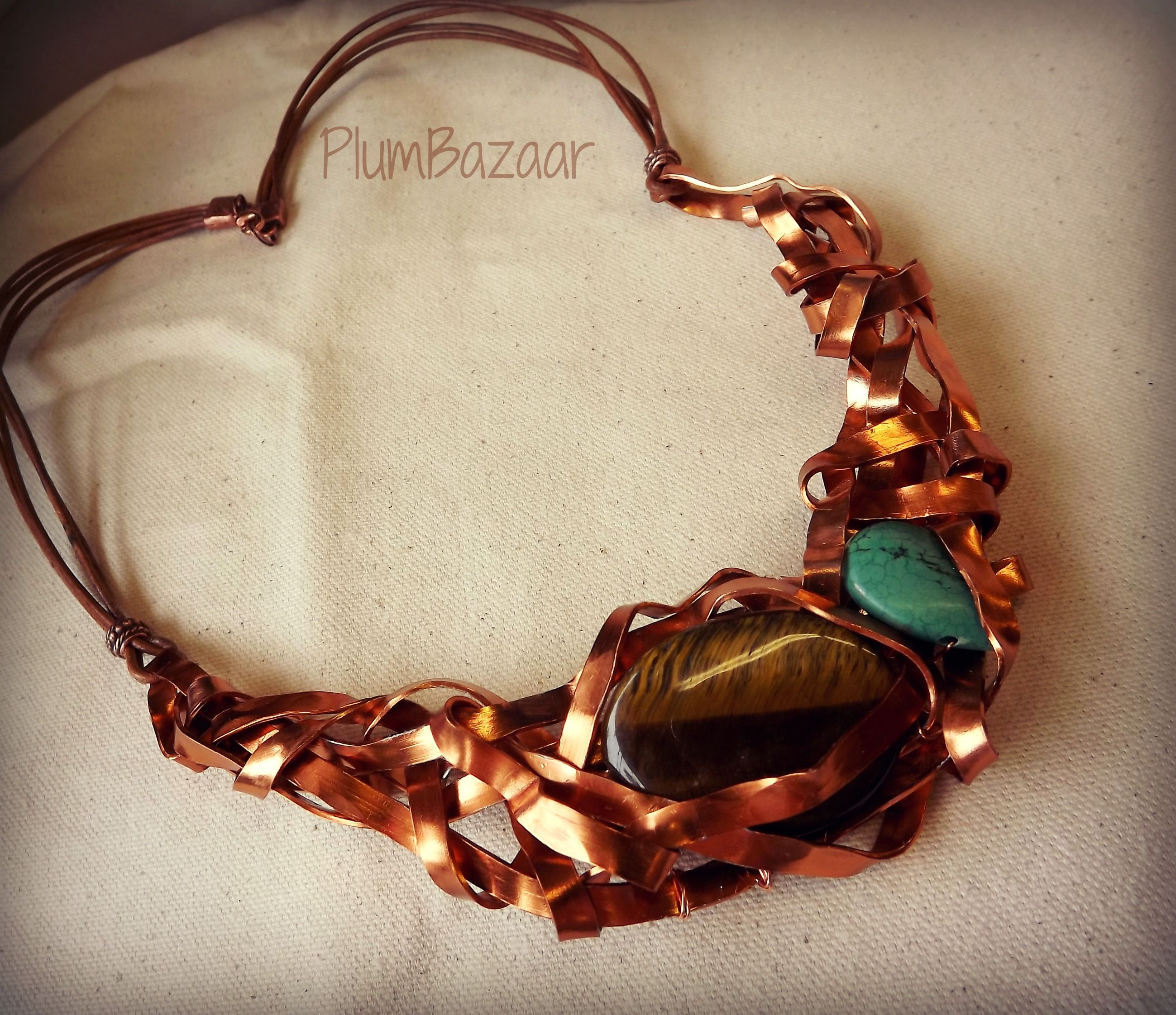 Gorgeous statement piece! Handmade necklace with flat copper colored ...