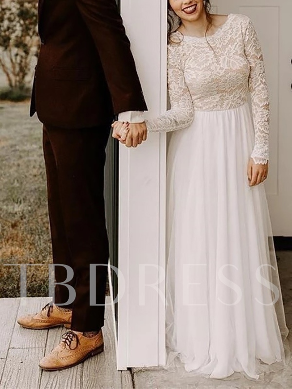 Scoop Neck Lace Long Sleeves Country Wedding Dress 2019