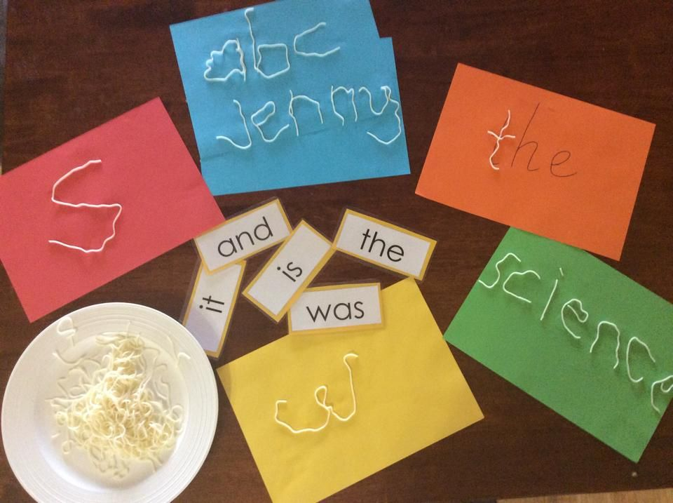 Using Boiled Spaghetti To Practise Letter Formation