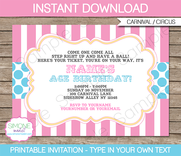 Carnival Invitations Template pinkaqua – Carnival Party Invitation Templates