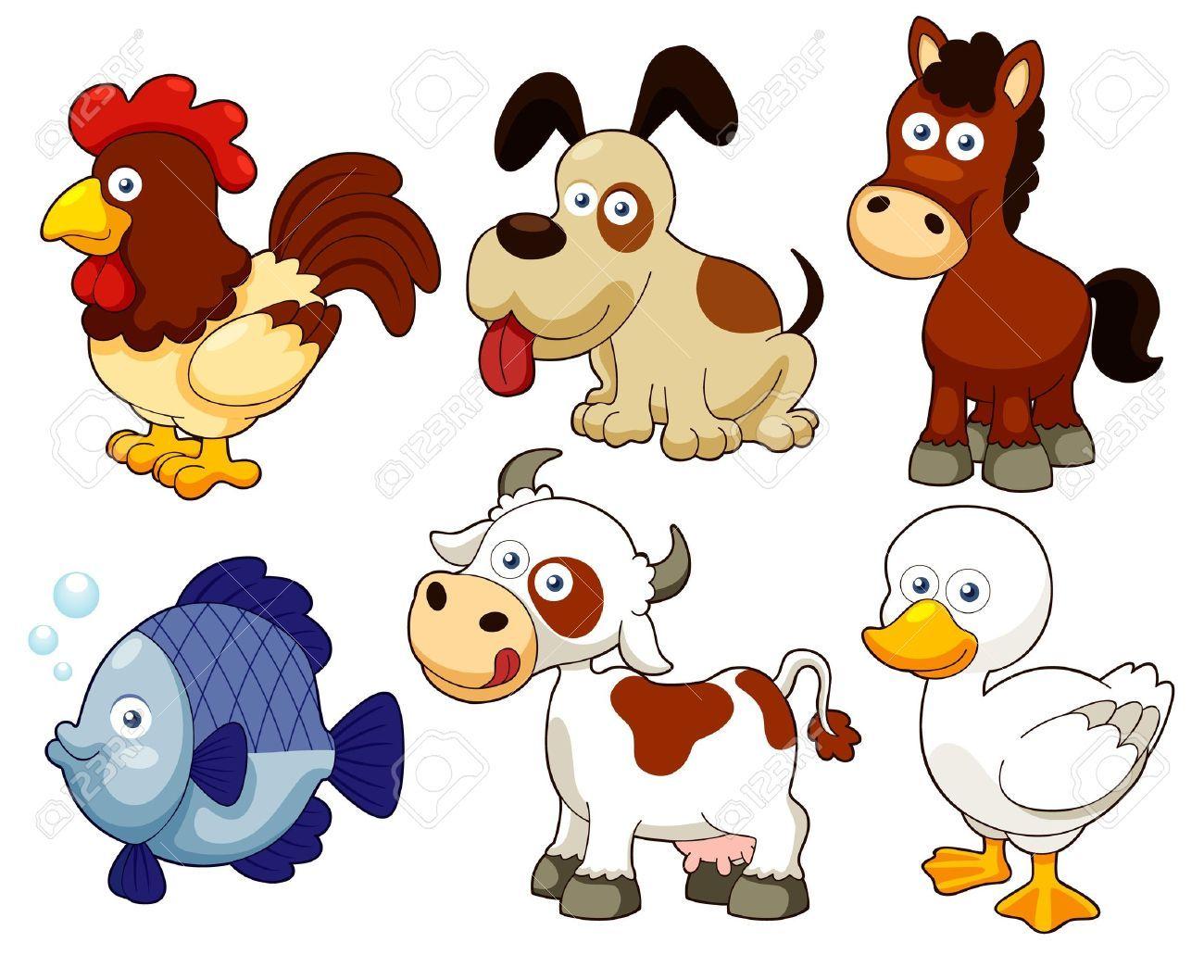 Ilustracion De Dibujos Animados De Animales De Granja Fichas De Animales Animales Domesticos Animados Animales Dibujos Animados