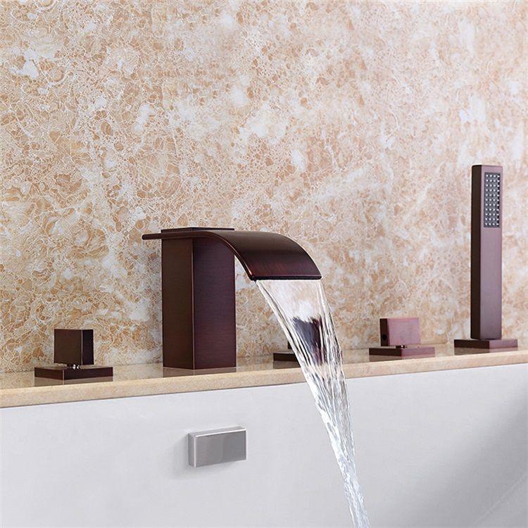 浴槽水栓 バス水栓 シャワー混合水栓 ハンドシャワー付 水道蛇口 3ハンドル Orb