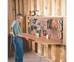 Fold Away Work Bench Workshop Diy Garage Storage