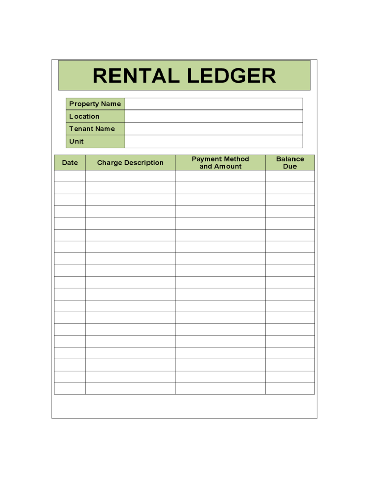 Rental Ledger Sample Template  Great Ideas    Template