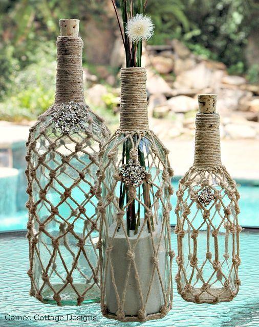 Ballard designs rope wine bottle knock off flaschen pinterest flaschen basteln und diy - Leere weinflaschen deko ...