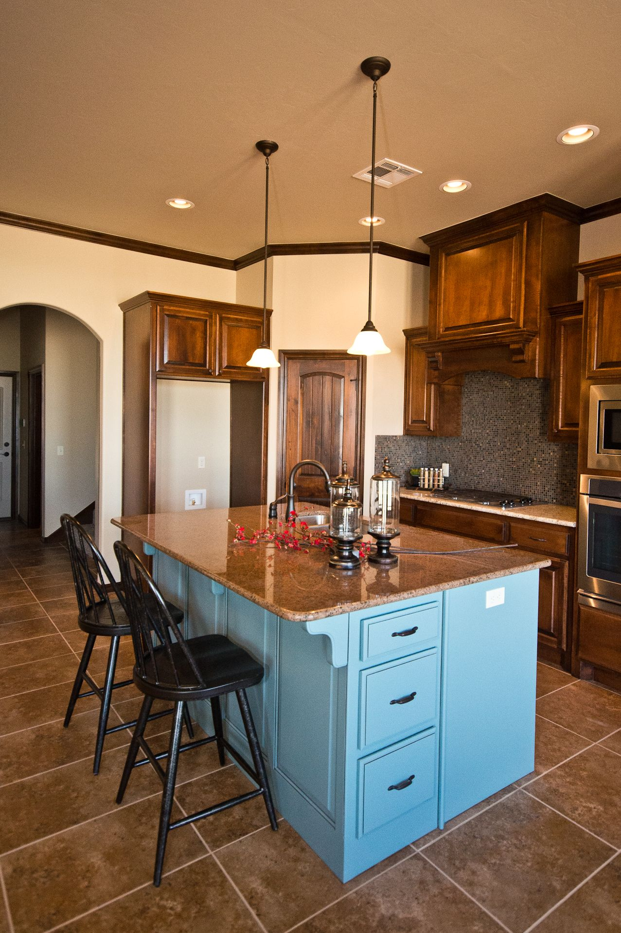 Beacon Stained Cabinets Giallo Ornamental Tropic Brown Granite Blue Mosaic Backsplash Oil Rubbed Bronze Staining Cabinets Kitchen Design Mosaic Backsplash