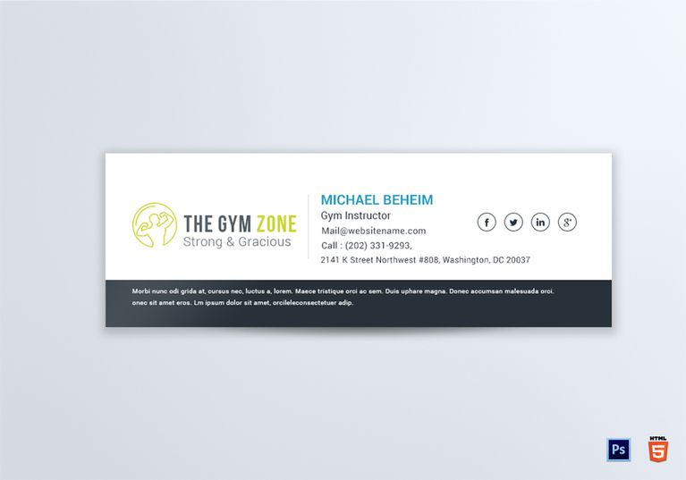Gym Email Signature Template