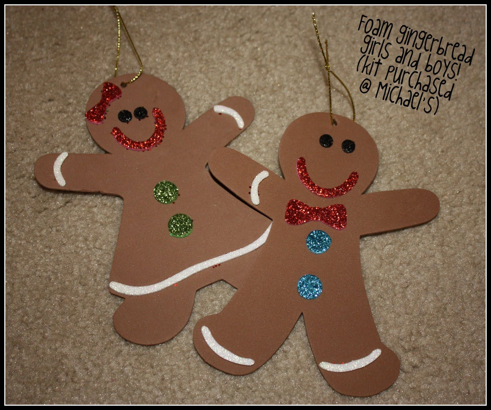 foam gingerbread ornaments Michaels kit  Classroom Ideas
