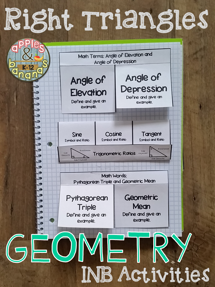 Right Triangles Guided Notes and INB Activities Right