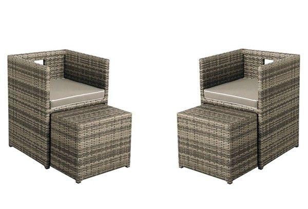 Rattan Balkonmobel Set Cubus Sessel Und Hocker 4 Tlg Farbe