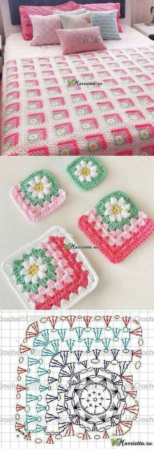 Corner Daisy square | Crochet | Pinterest | Häkeln, Decken und ...