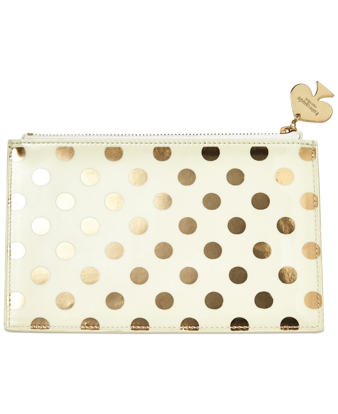 NEW kate spade new york Pencil Pouch  Gold Dots FREE SHIPPING