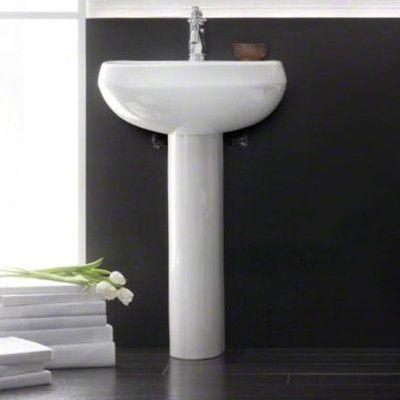 Wellworth 174 Ceramic Pedestal Bathroom Sink With Overflow
