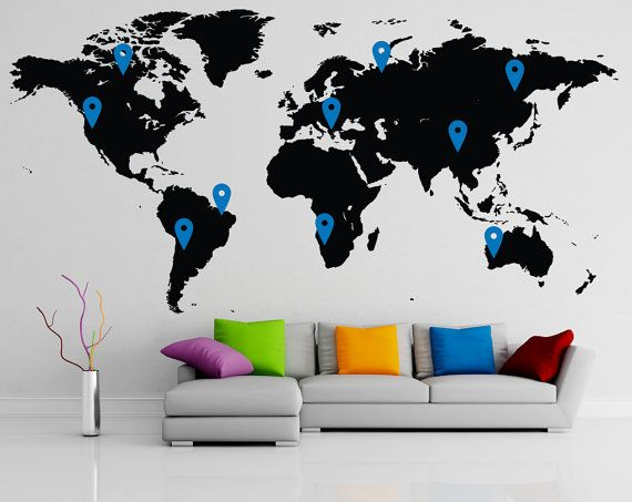Map decal world map wall decal about the product each decal is made map decal world map wall decal about the product each decal is made of high gumiabroncs Image collections