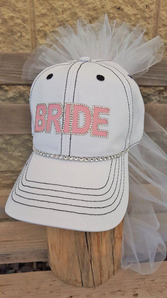 Bride Trucker Hat With Veil For Bachelorette Party By Capsbykari Baseball Wedding Shower Bride Hat Team Bride Hats