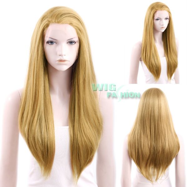 """24"""" Heat Resistant Long Straight Mixed Dark Blonde Lace Front Wig #WigFashion #FullWig"""