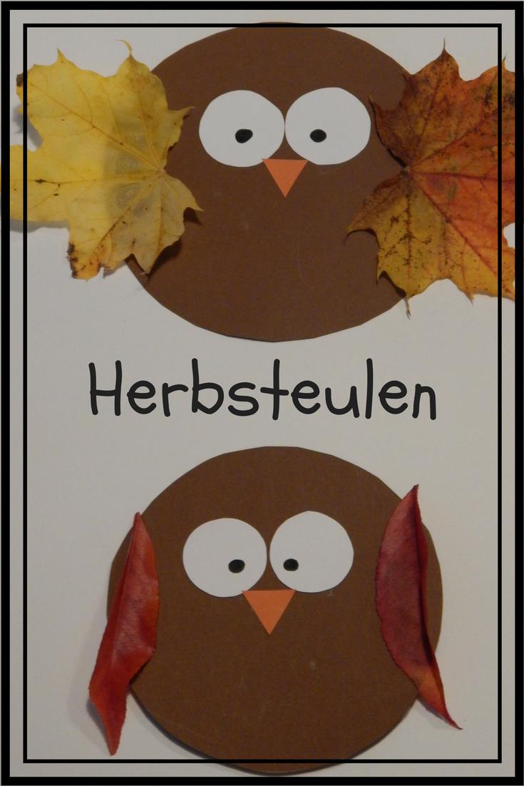 herbst eulen kinder basteln natur blätter kreise crafts kids fall leaves owl #geisterbasteln