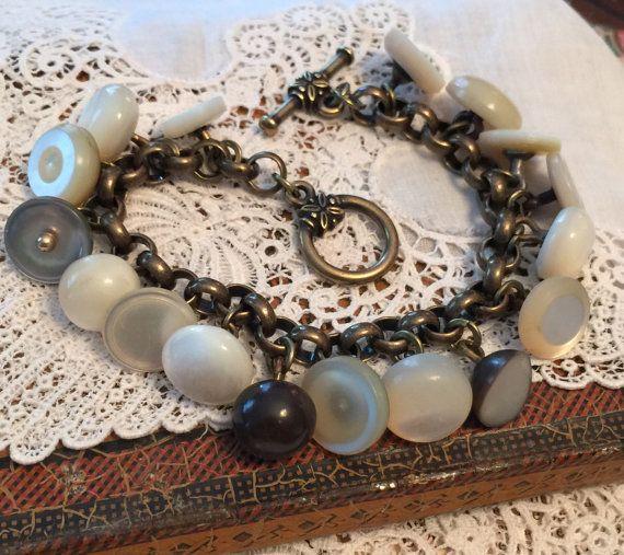 Antique And Vintage Pearl Button Charm Bracelet