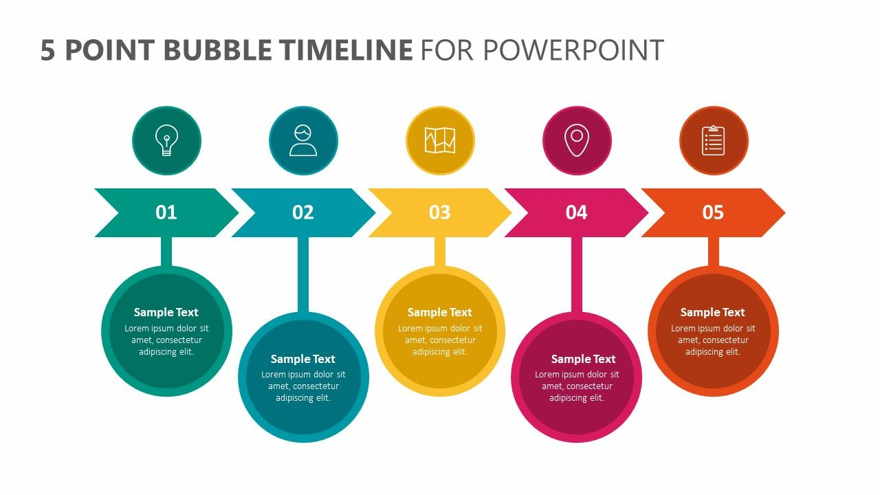 5 Point Bubble Timeline For Powerpoint Powerpoint