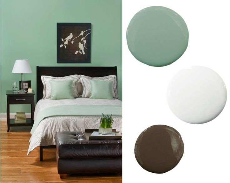 mint green and brown bedroom although id prefer dark gray instead of brown
