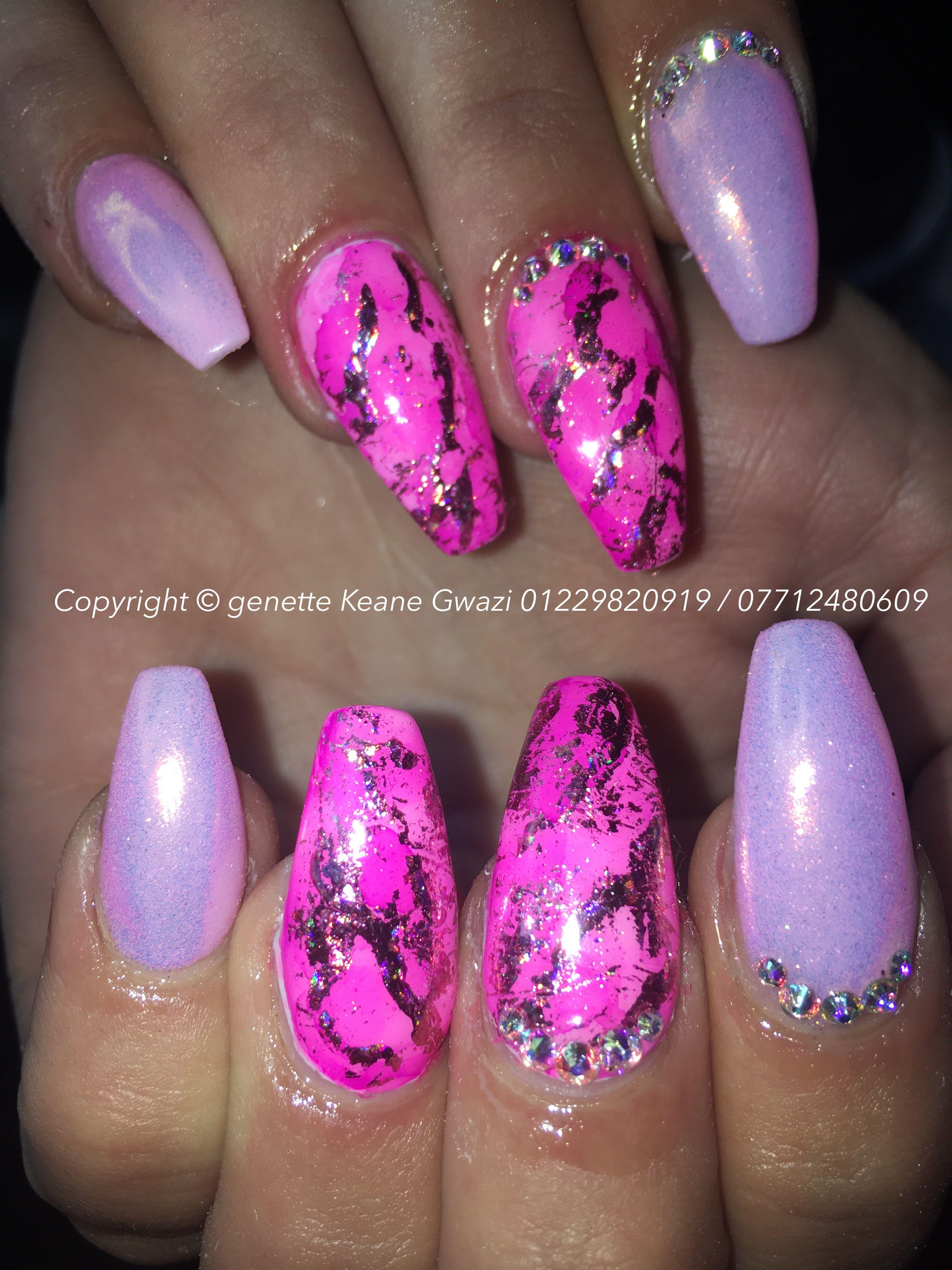 Mermaid pink marble nails with Swarovski nail art | Swarovski nail ...