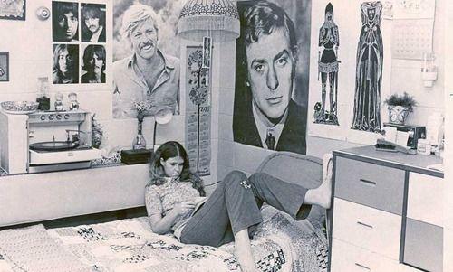 Girl in her dorm room in the 1970s.