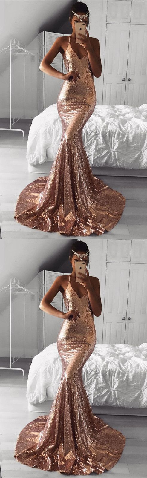 Long rose gold sequins prom dresses mermaid vneck evening gowns in