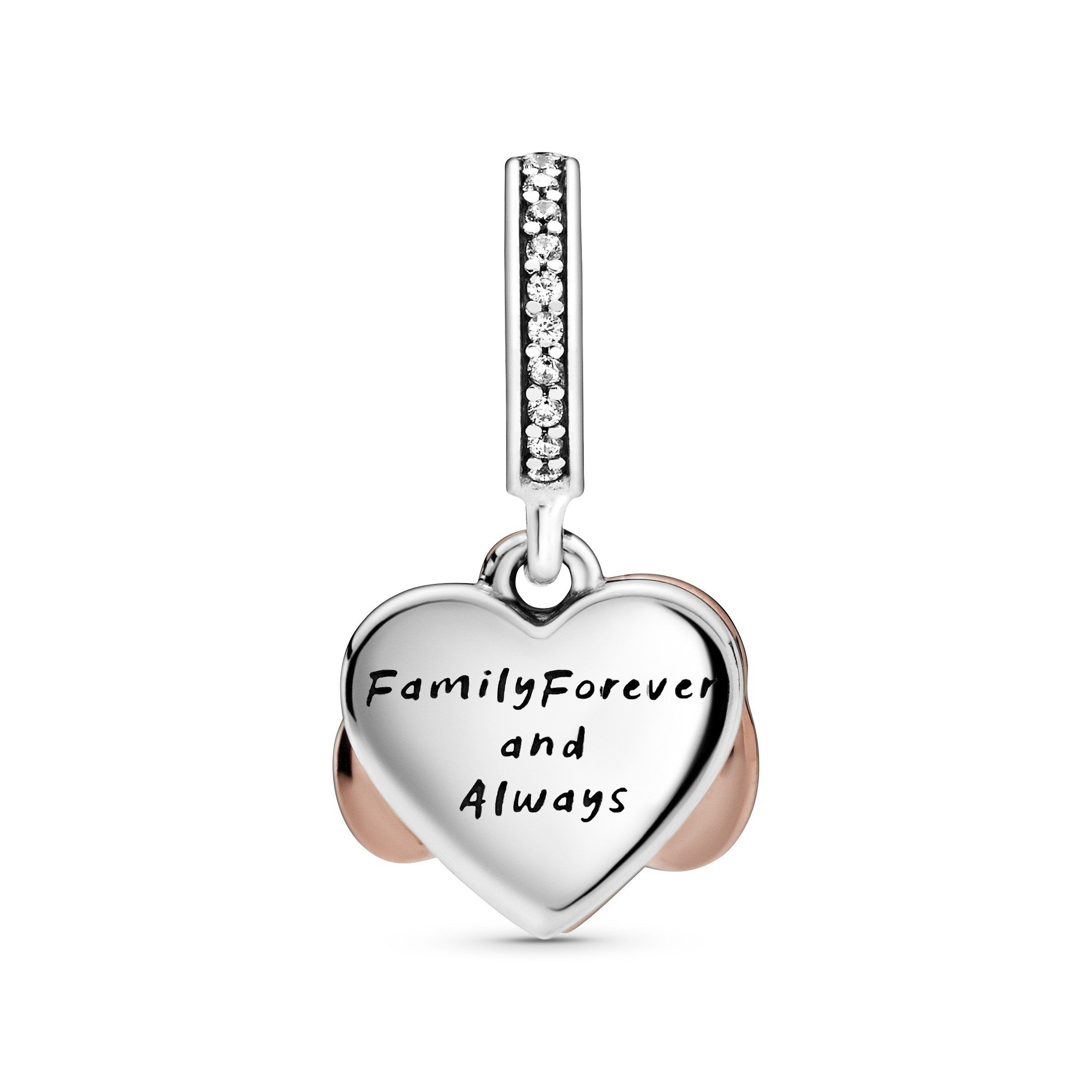 """Take your love to infinity and beyond with this sparkling double dangle charm. The front dangle is hand-finished in Pandora Rose™, our 14k rose gold-plated unique metal blend, and features an infinity sign wrapped around a sparkling heart set with clear cubic zirconia surrounded by white rhodium plating. The back dangle's pink hand-applied enamel provides a sweet backdrop to the love-filled message of the dangle charm with the engraving """"Family forever and always""""."""