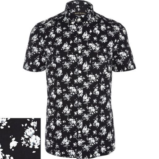 Black floral print short sleeve shirt - short sleeve shirts ...