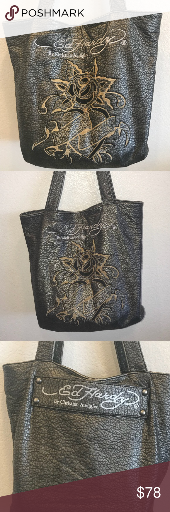 "df85bf9d84 Ed Hardy by Christian Audigier Handbag ""Eternal Love"" by Christian  Audigier. Distressed. Small Cut on Strap. Still soft and cool and a great  looking style ..."