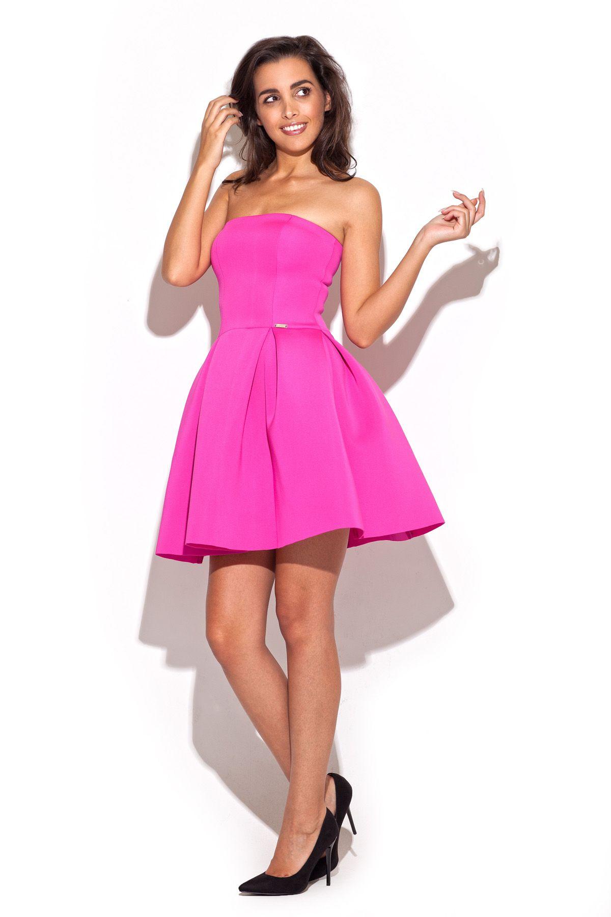 Różowa cukierkowa sukienka rozkloszowana z gorsetową górą | Sukienki ...