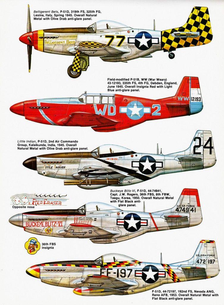 P-51 Variations paint schemes   Profils aviation - Camouflage ...