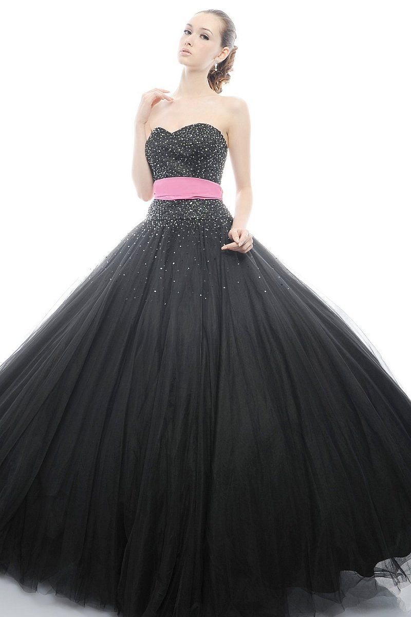 Black Sweetheart Beadings Sash Satin Tulle Sweep Train Ball Gown ...