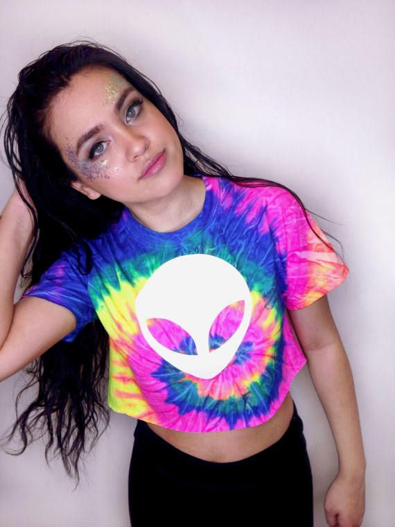 Alien Costume Alien Shirt Tie Dye Shirt Rave Outfit Alien Crop Top Festival Clothing Women Rave Clothing Alien T Shirt Psychedelic Shirt