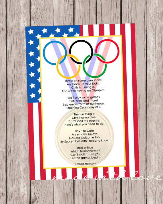olympic games a party invitation personalized by madewithlovejj