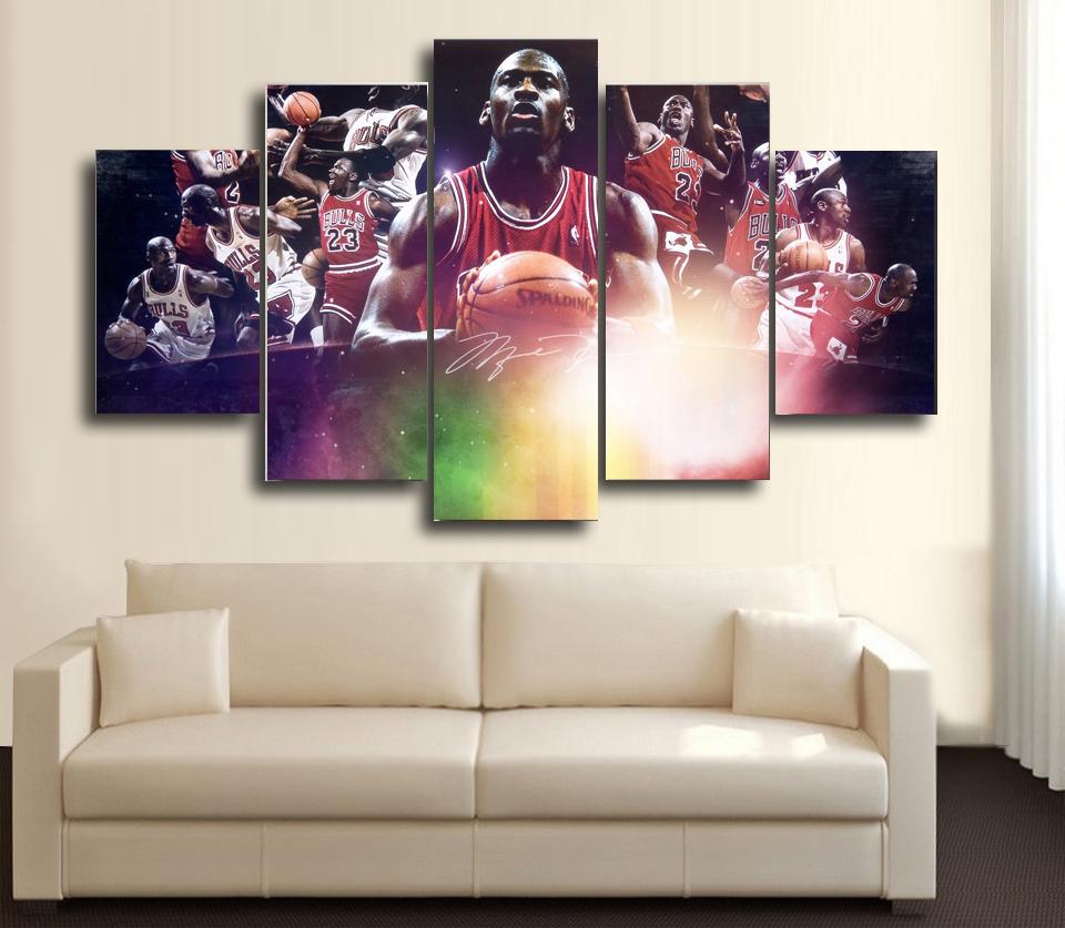 Hd printed nba basketball michael jordan 23 5 piece canvas hd printed nba basketball michael jordan 23 5 piece canvas amipublicfo Image collections