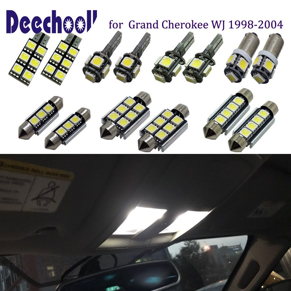 Deechooll 11pcs Car Led Bulb For Jeep Grand Cherokee 98 04 Auto