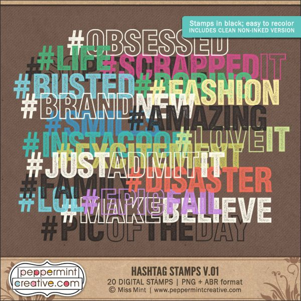 Hashtag Stamps v.01 - .PNG & .ABR Stamps plus .SVG Cut Files for #silhouette #diecut