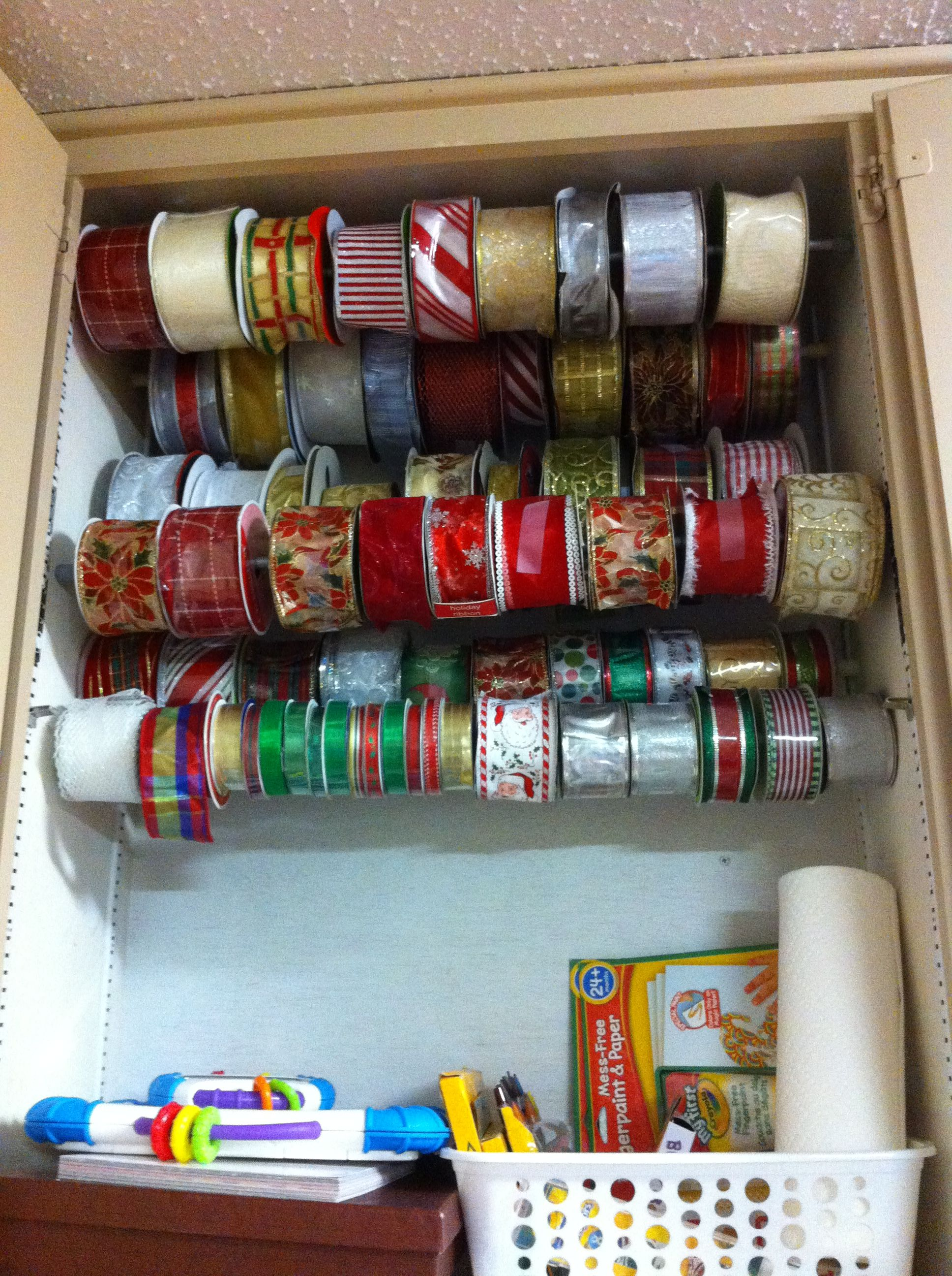 Use Mini Curtain Rods As Ribbon Organizer Easier And More