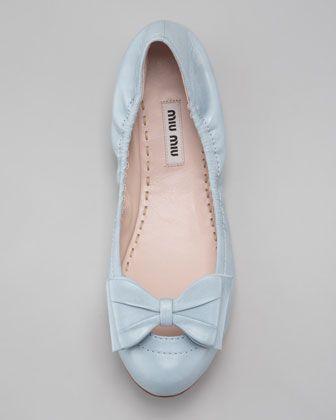 Miu Miu Ballerina Bow Flat, Light Blue
