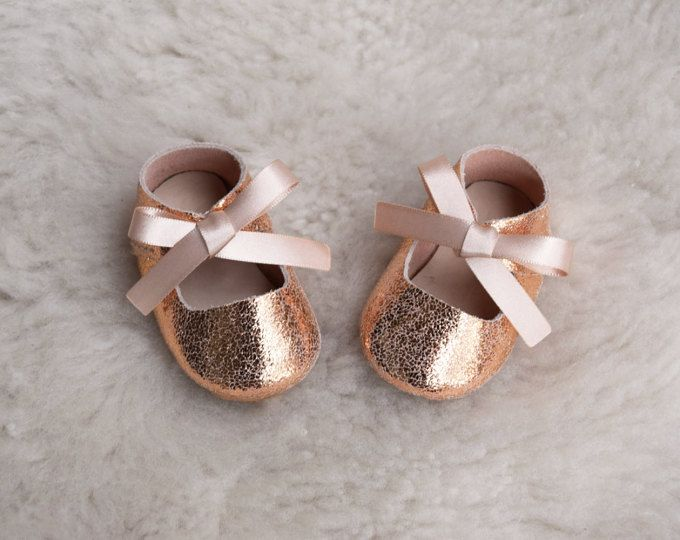 81f35e862ae83 Baby Moccasins, Leather Baby Girl Shoes, Rose Gold Pink Glitter ...