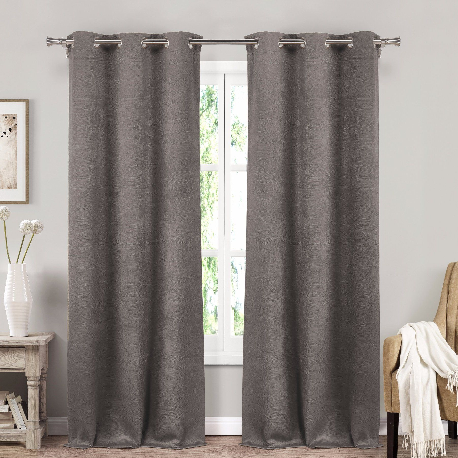 Amity Solid Blackout Thermal Grommet Curtain Panels