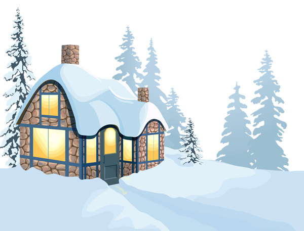 Winter House And Snow Png Clipart Image Winter House Snow Illustration Clip Art