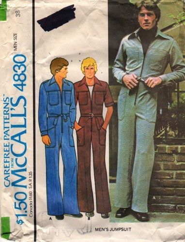 432b2bed3ad 70s McCalls 4830 Mens Zip Front Jumpsuit Pattern Disco Denim Stretch Knit adult  vintage sewing pattern Chest 38